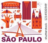 sao paulo culture travel set ... | Shutterstock .eps vector #1214530549