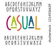 two modern alphabets. uppercase ... | Shutterstock .eps vector #1214536639