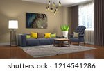 interior of the living room. 3d ... | Shutterstock . vector #1214541286