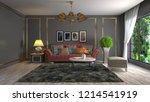 interior of the living room. 3d ...   Shutterstock . vector #1214541919