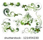 vector christmas holly set | Shutterstock .eps vector #121454230