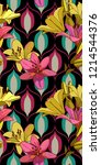 lilies on vintage seamless... | Shutterstock .eps vector #1214544376