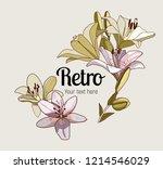 lily. retro flower   Shutterstock .eps vector #1214546029