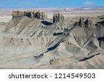 grey badlands seen from skyline ... | Shutterstock . vector #1214549503