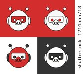 emoji with a set of red  white  ... | Shutterstock .eps vector #1214555713