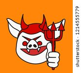 emoji with evil devil pig with... | Shutterstock .eps vector #1214555779