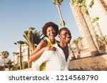 happy and laugh couple in... | Shutterstock . vector #1214568790
