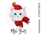 cute festive cat with the... | Shutterstock .eps vector #1214575810