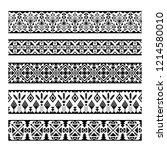ethnic pattern stripes. black... | Shutterstock . vector #1214580010