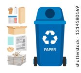 blue garbage can with paper... | Shutterstock . vector #1214580169