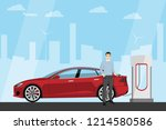 man charges an electric car at... | Shutterstock .eps vector #1214580586