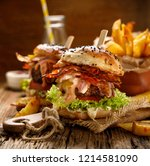 fresh burger with grilled bacon ... | Shutterstock . vector #1214581090