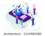 chatbot isometric vector... | Shutterstock .eps vector #1214583280
