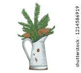 rustic pitcher vase with fir... | Shutterstock .eps vector #1214586919