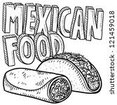 beans,beef,black beans,burrito,carne,cuisine,dinner,doodle,drawing,food,fresh,hispanic,illustration,isolated,lettuce