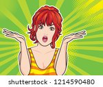 young woman spread her hand and ... | Shutterstock .eps vector #1214590480
