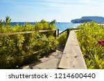 descent to the sea with a... | Shutterstock . vector #1214600440