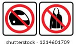 no full face helmet sign and no ... | Shutterstock .eps vector #1214601709