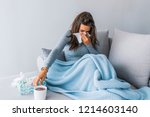 sick woman with headache... | Shutterstock . vector #1214603140