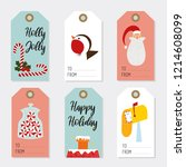 vector christmas labels... | Shutterstock .eps vector #1214608099