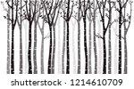 birch tree silhouette on white...   Shutterstock .eps vector #1214610709