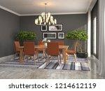 interior dining area. 3d... | Shutterstock . vector #1214612119