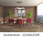 interior dining area. 3d... | Shutterstock . vector #1214612149