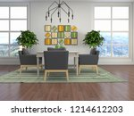 interior dining area. 3d... | Shutterstock . vector #1214612203