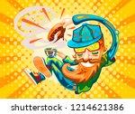 funny hipster man vector... | Shutterstock .eps vector #1214621386