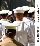 us navy sailors from the back.... | Shutterstock . vector #1214622349
