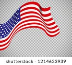 usa flag icon on transparent... | Shutterstock . vector #1214623939