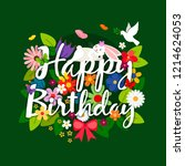 happy birthday card with... | Shutterstock . vector #1214624053