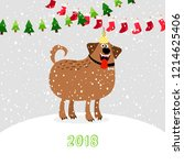 christmas 2018 dog. winter cute ... | Shutterstock . vector #1214625406
