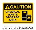 caution chemical waste storage... | Shutterstock .eps vector #1214626849