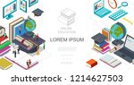 isometric online education... | Shutterstock .eps vector #1214627503
