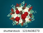 christmas bouquet with red... | Shutterstock .eps vector #1214638273