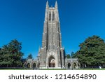 Front view of the Duke Chapel tower in early fall, Durham, North Carolina