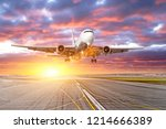 flying and traveling  sunset... | Shutterstock . vector #1214666389