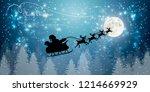 santa claus flying in sledge... | Shutterstock .eps vector #1214669929