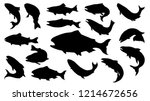set of salmon silhouette in... | Shutterstock .eps vector #1214672656