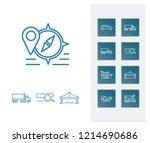 cargo icon set and bridge with...