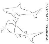 black line sharks on white... | Shutterstock .eps vector #1214705773