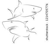 black line sharks on white... | Shutterstock .eps vector #1214705776