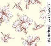 hand drawn monochrome humming... | Shutterstock .eps vector #1214710246