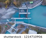 Aerial View Of River Dam In...