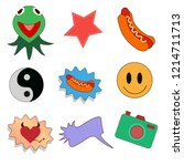 stickers  smiley  frog  camera... | Shutterstock .eps vector #1214711713