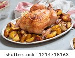 whole roasted chicken with...   Shutterstock . vector #1214718163