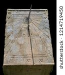 Old Stone Sundial Close Up With ...