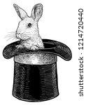Stock vector rabbit in hat illustration drawing engraving ink line art vector 1214720440