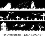 vector halloween landscape set  ... | Shutterstock .eps vector #1214729149